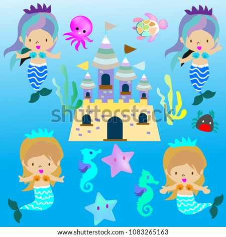 Cute Mermaid fairy tail on underwater fantasy clipart background.