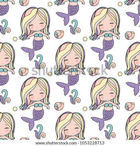 cute mermaid seamless pattern