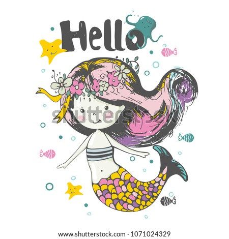 Cute Mermaid  under the water.cartoon hand drawn vector illustration. Can be used for baby t-shirt print, fashion print design, kids wear, baby shower celebration greeting and invitation card