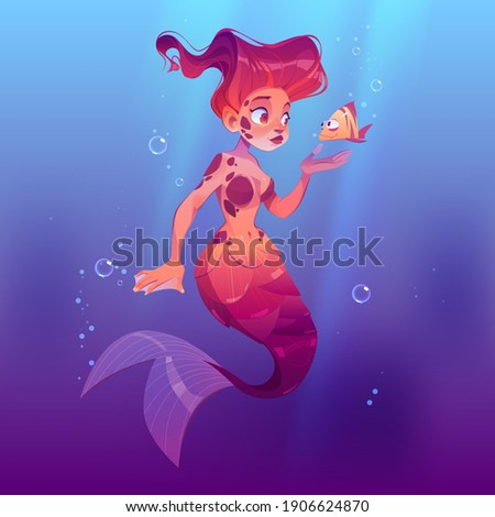 Cute mermaid with little fish underwater in sea. Vector cartoon person, beautiful girl fish with red hair and tail in ocean water with bubbles. Fairy tale or mythology character, pretty mermaid