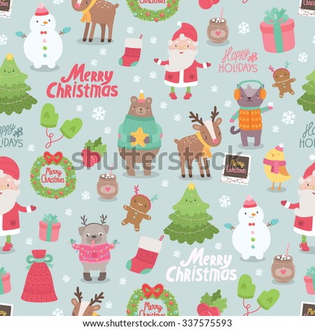 cute merry christmas and happy