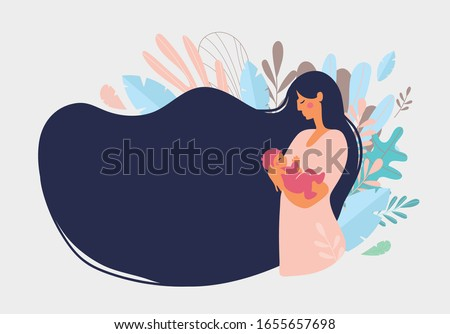Cute mom with a newborn. The concept of motherhood, family. Flat design with copy space. Happy woman hugs toddler, long hair on a background of blue leaves. Vector illustration on a white background