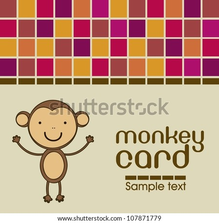 Cute monkey card with colorful mosaics, vector illustration
