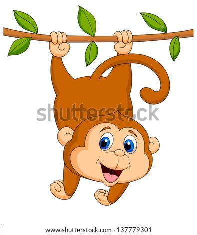 Cartoon monkeys hanging from a tree - photo#18
