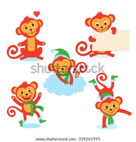 cute monkey character set