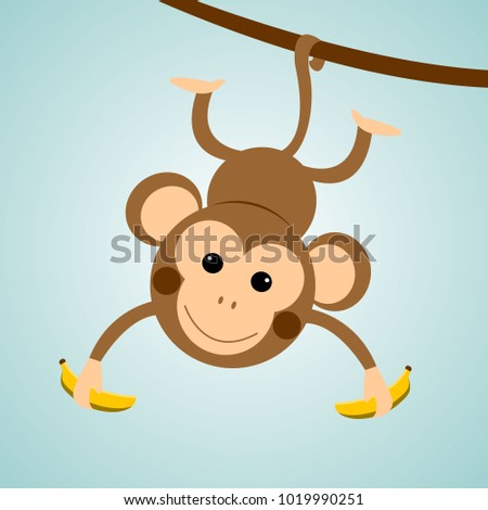 Cute Monkey Chimpanzee Hanging and Presenting On Wood Branch.