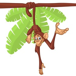Cute Monkey Chimpanzee Hanging and Presenting On Wood Branch. Flat Bright Color Simplified Vector Illustration In Fun Cartoon Style Design