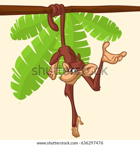 Cute Monkey Chimpanzee Hanging  On Wood Branch Flat Bright Color Simplified Vector Illustration In Fun Cartoon Style Design. Vector drawing of a monkey outlined