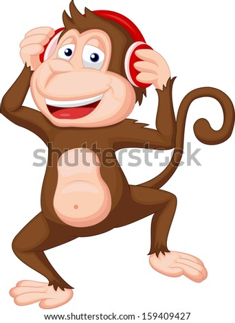 cute monkey dancing