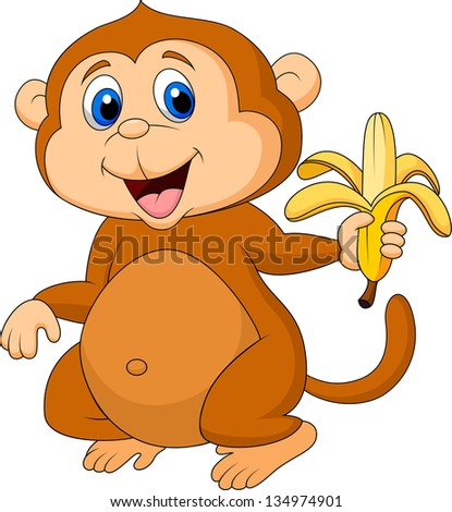 cute monkey eating banana
