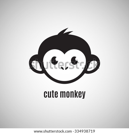 Cute monkey face, New Year 2016, vector illustration logo design
