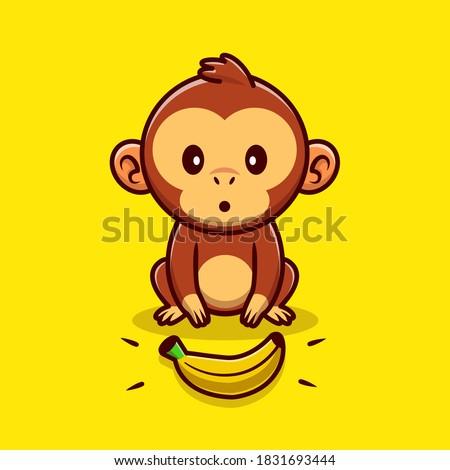 cute monkey finds a banana