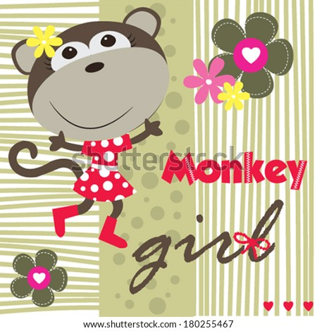 cute monkey girl vector illustration