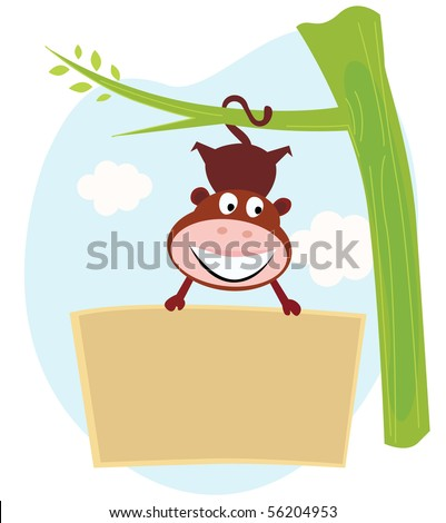 Cute Monkey hanging from tree upside down with banner. Cute little monkey holding a blank sign. Write your text into blank sign.