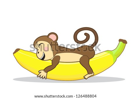 Cute monkey holding a banana