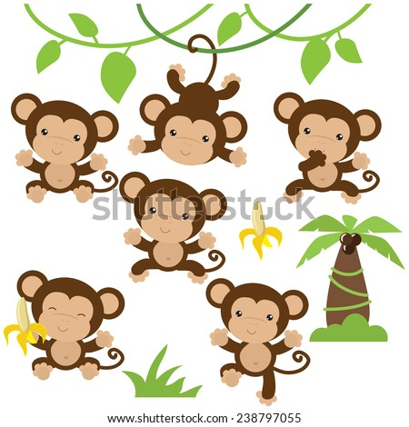 Cute monkey vector illustration