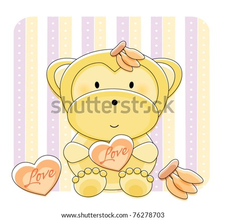 Cute monkey with background design
