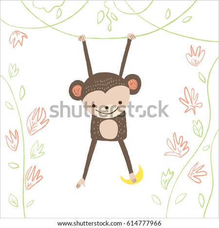 cute monkey with banana and
