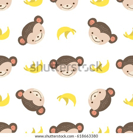 cute monkey with bananas