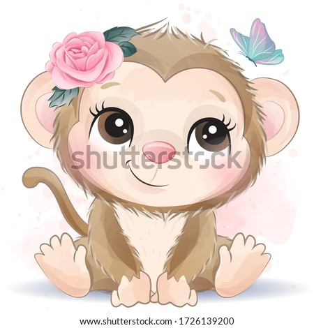 Cute monkey with watercolor effect Stock foto ©