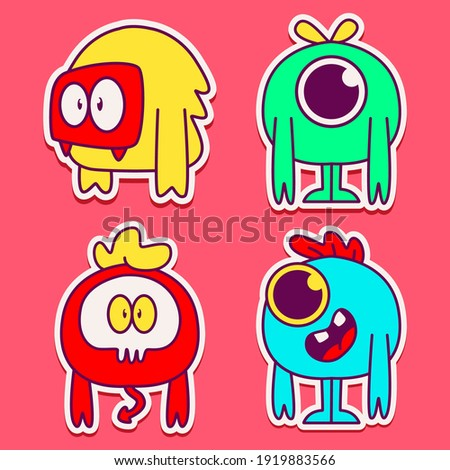 cute monster cartoon doodle design for coloring, backgrounds, stickers, logos, symbol, icons and more Stock foto ©