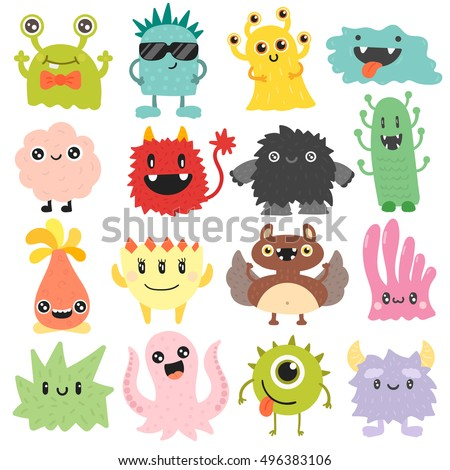 cute monster color character
