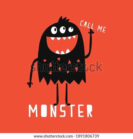 cute monster drawn as vector for kids fashion