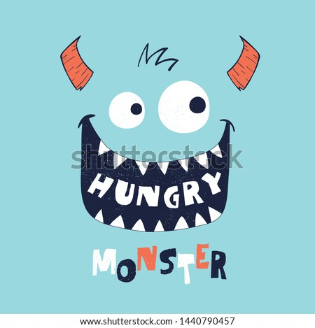 cute monster face drawn as