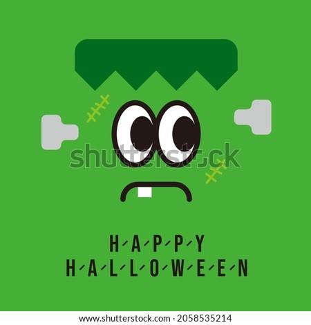 Cute monster Frankenstein celebrating Halloween.