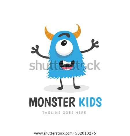 cute monster  kids logo