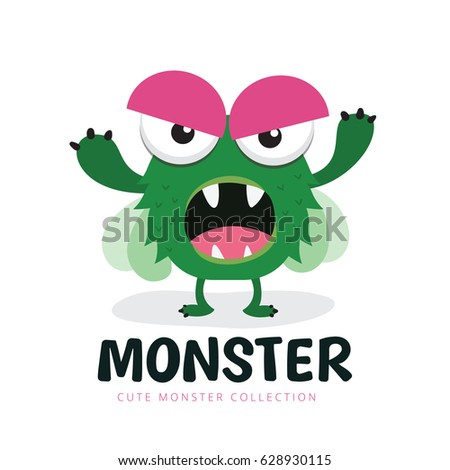 cute monster logo template