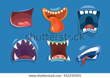 cute monster mouths vector set
