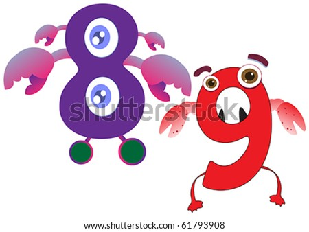 cute monster numbers 8 and 9