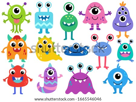 Cute Monster Vector Set. Creature cartoon character drawings. Monsters illustration. Alien clip art. Creepy critter graphic collection.