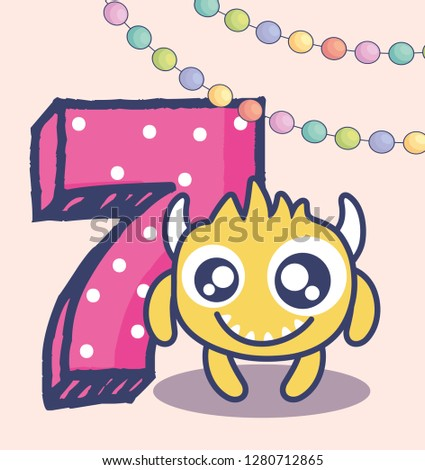 cute monster with number seven