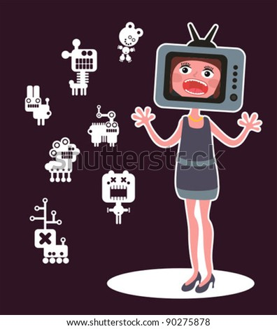Cute monsters and shouting girl with TV head. Vector illustration.