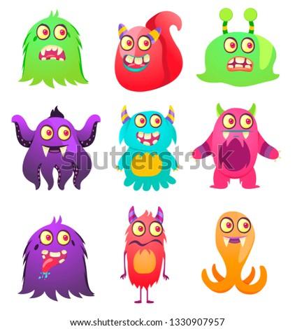Cute Monsters. Cartoon aliens from space for kindergarten children. #1330907957