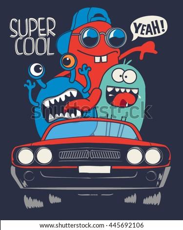 cute monsters in car  vector