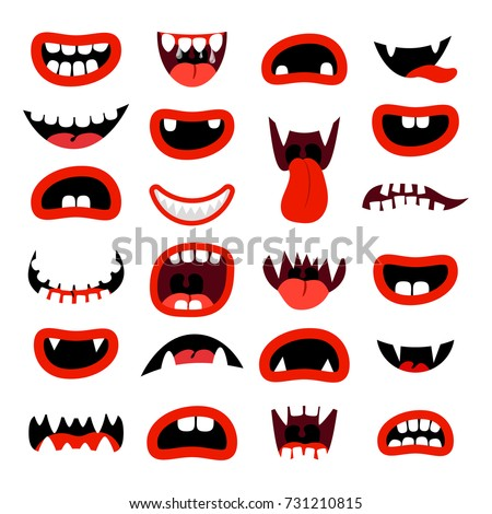cute monsters mouth set red
