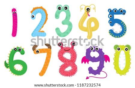 cute monsters number set