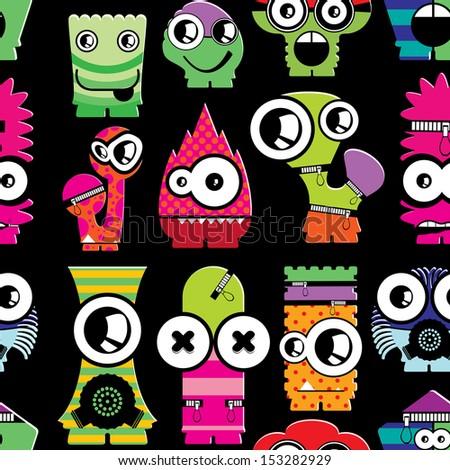 Cute monsters on black - seamless pattern