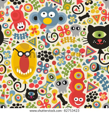 Cute monsters seamless pattern. Vector party texture for you background.