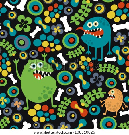 Cute monsters seamless texture with bones and flowers. Vector pattern.