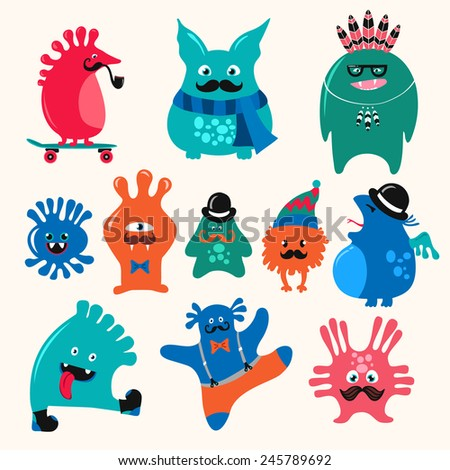 cute monsters set funny