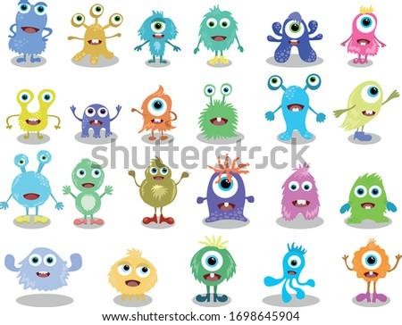 Cute monsters set. Funny monsters art