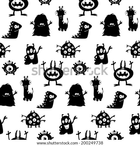 Cute monsters silhouettes seamless pattern