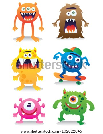 Cute monsters vector set