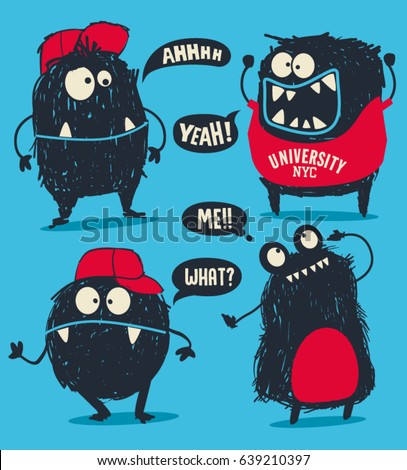 stock-vector-cute-monsters-vector-set-for-t-shirt-design