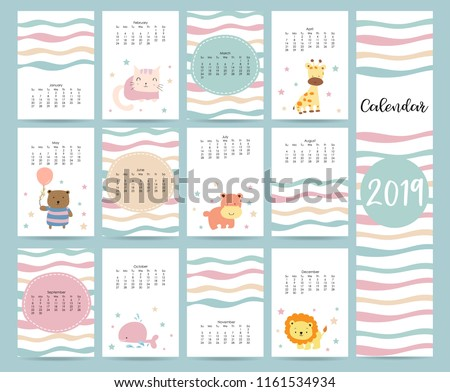 cute monthly calendar 2019 with