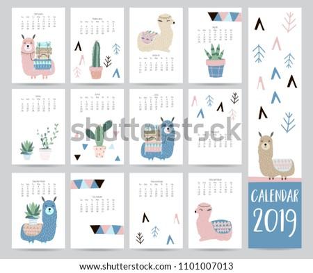 Cute 2019 Calendar With Cactus Download Free Vector Art Stock